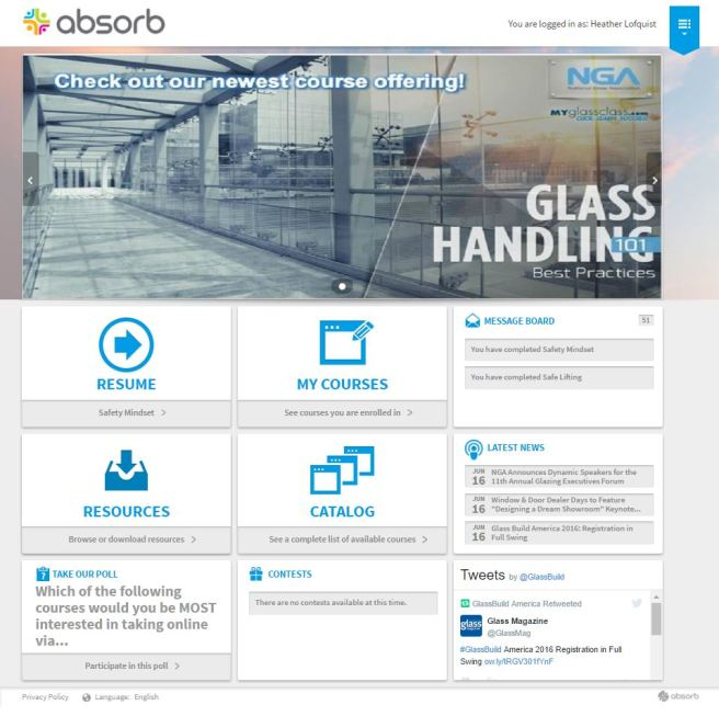 Absorb Home Screen - Learner